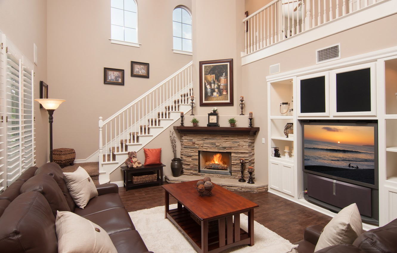 Photo wallpaper design, style, table, sofa, fire, pillow, TV, ladder, fireplace, living room