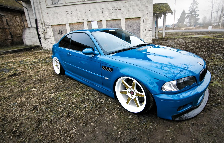 Photo wallpaper BMW, BMW, blue, tuning, E46