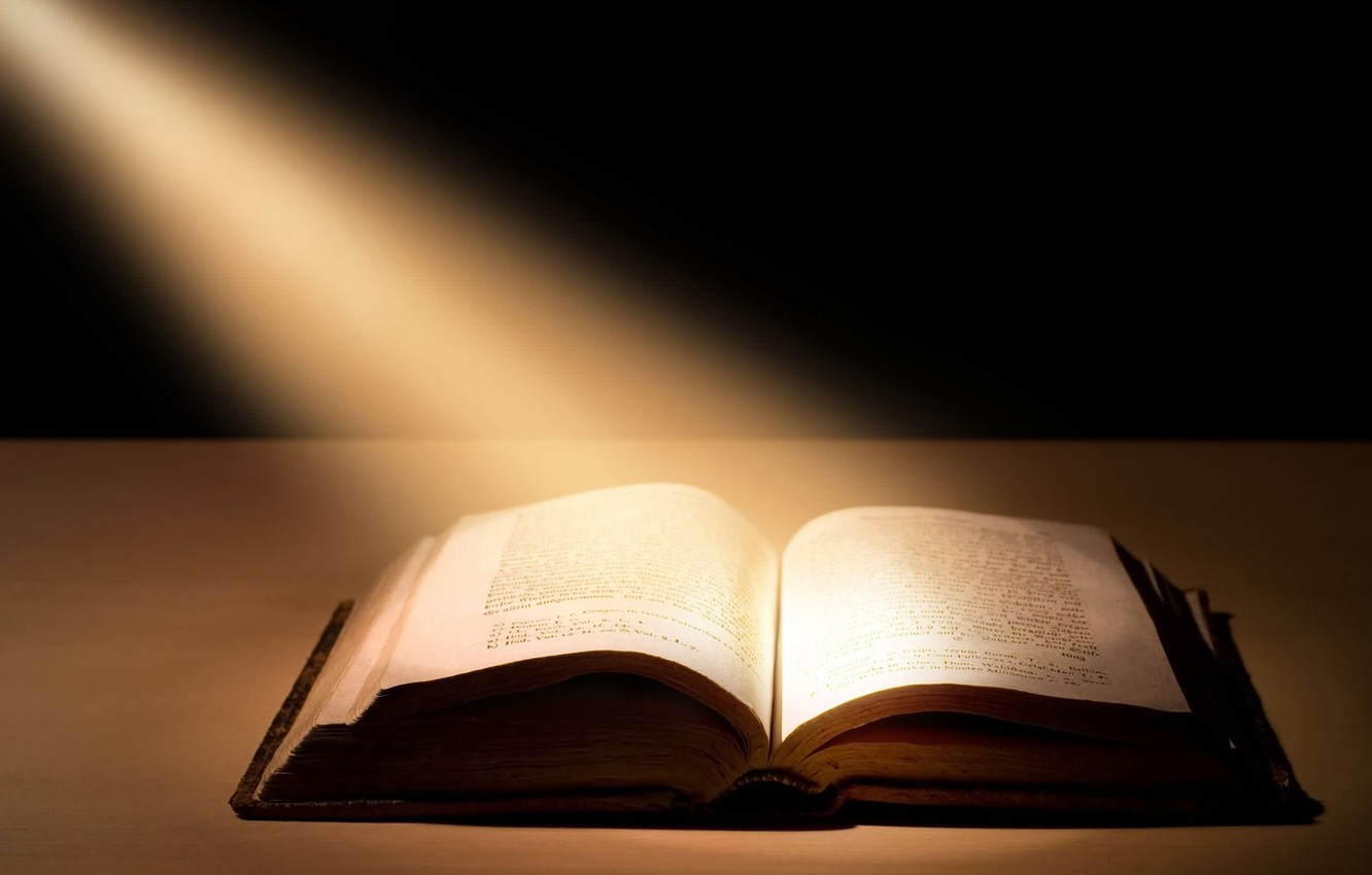 Photo wallpaper rays, light, book, the Bible, book