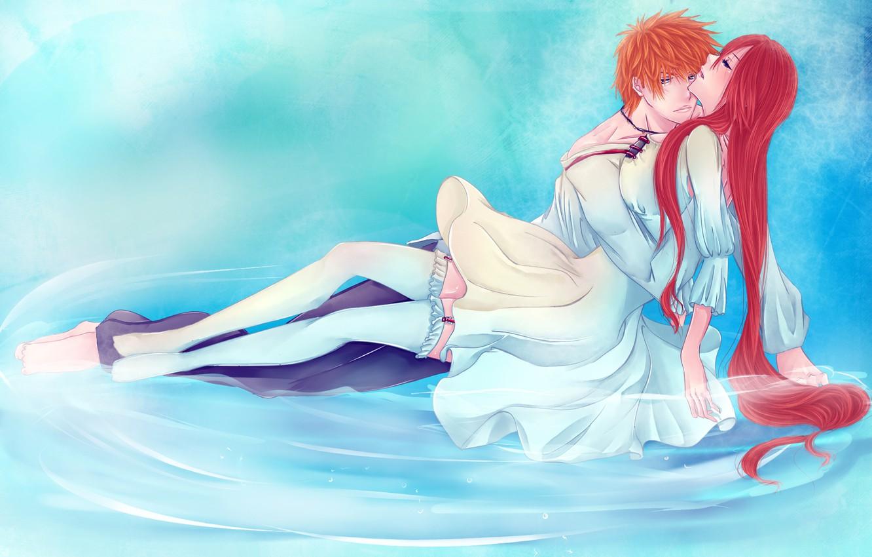 Photo wallpaper water, girl, stockings, anime, art, pair, guy, bleach, Kurosaki Ichigo, inoue orihime, iwonn