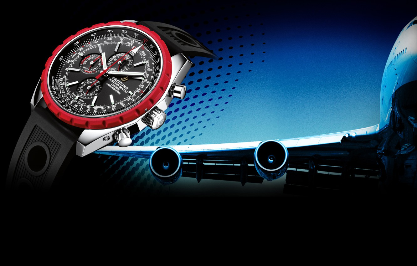 Photo wallpaper Watch, the plane, Breitling, Chrono-Matic