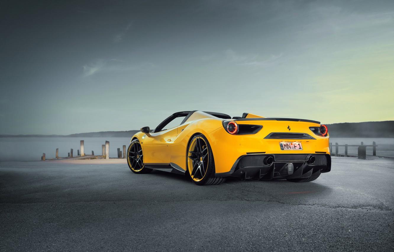 Photo wallpaper car, auto, tuning, Ferrari, supercar, Ferrari, sky, back, Spider, Rosso, Novitec, 488, novitek