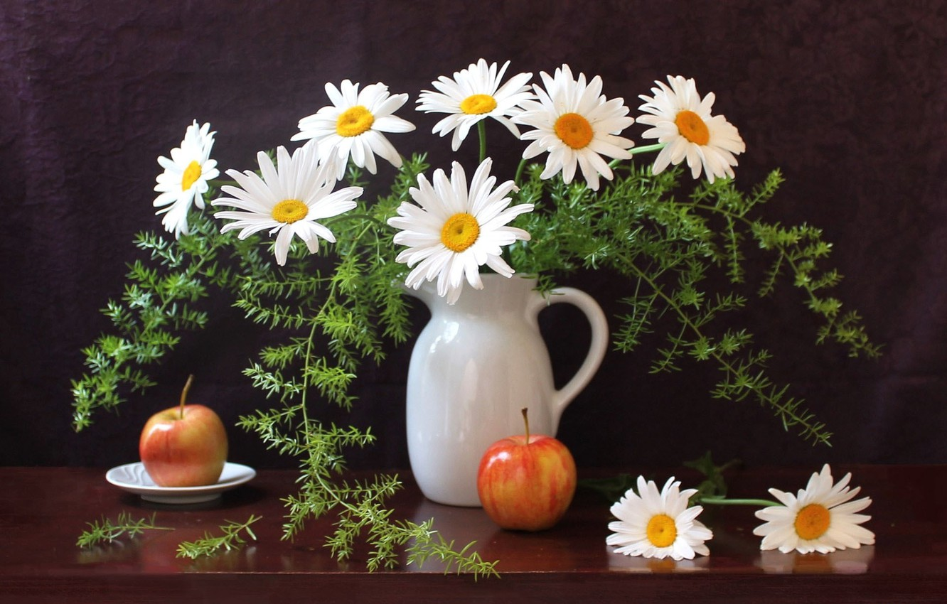 Photo wallpaper greens, table, apples, chamomile, plate, pitcher