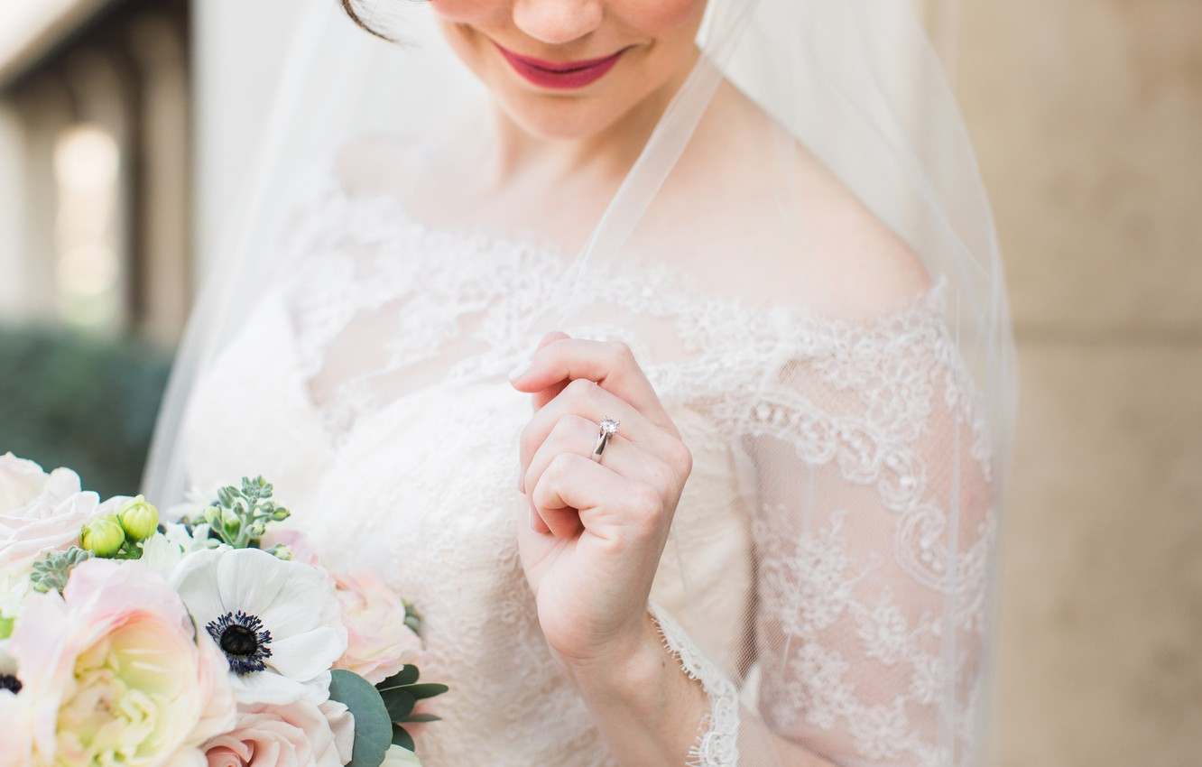 Photo wallpaper girl, bouquet, ring, the bride