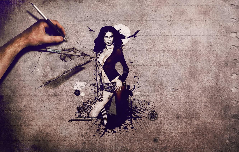 Photo wallpaper girl, figure, hand, adriana lima