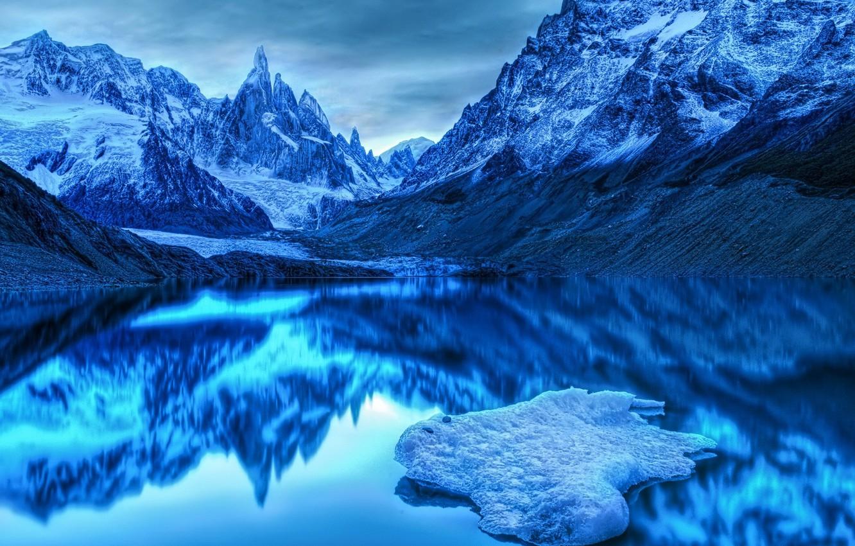Photo wallpaper cold, mountains, blue, lake