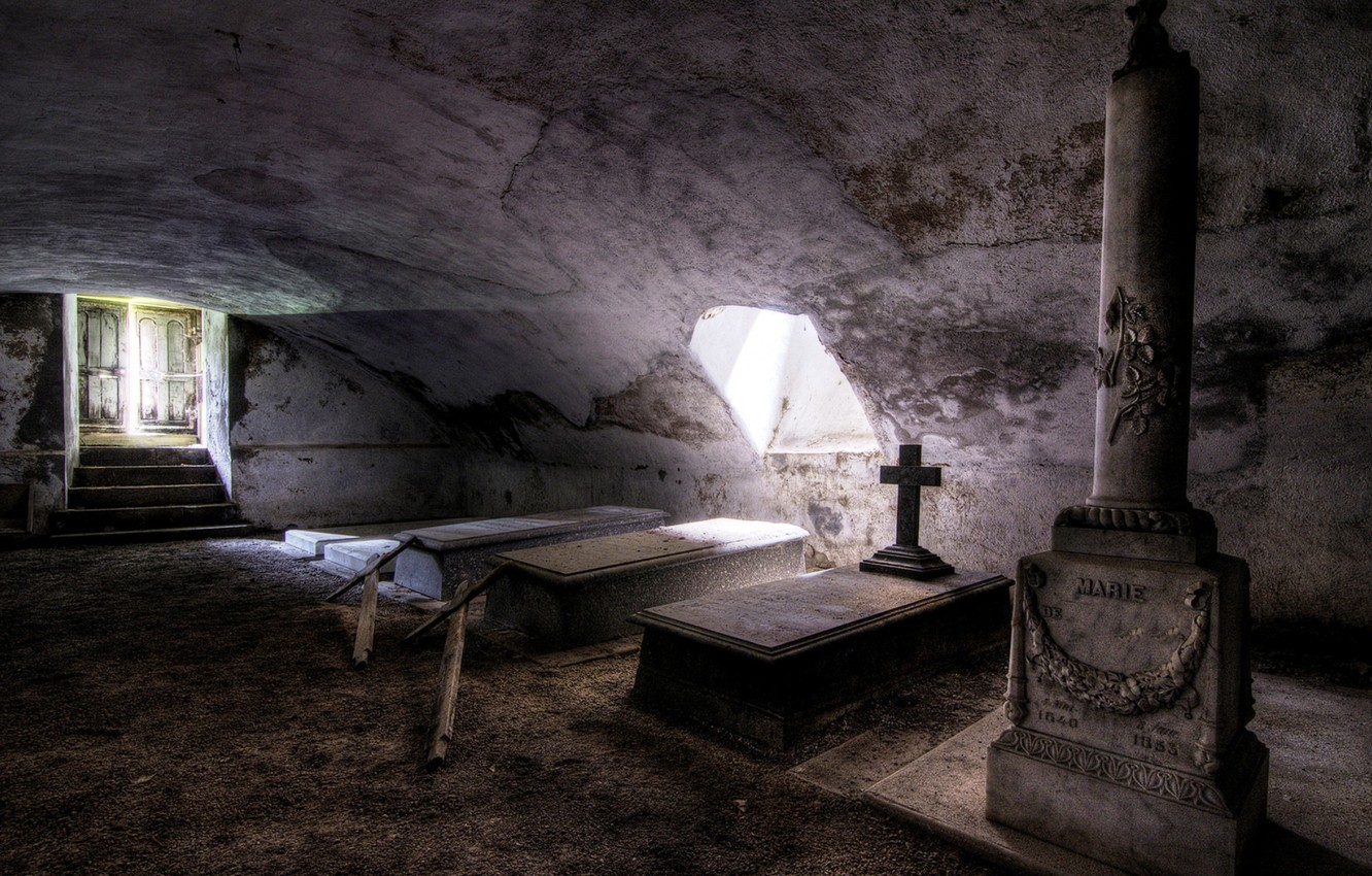 Photo wallpaper background, the crypt, coffins