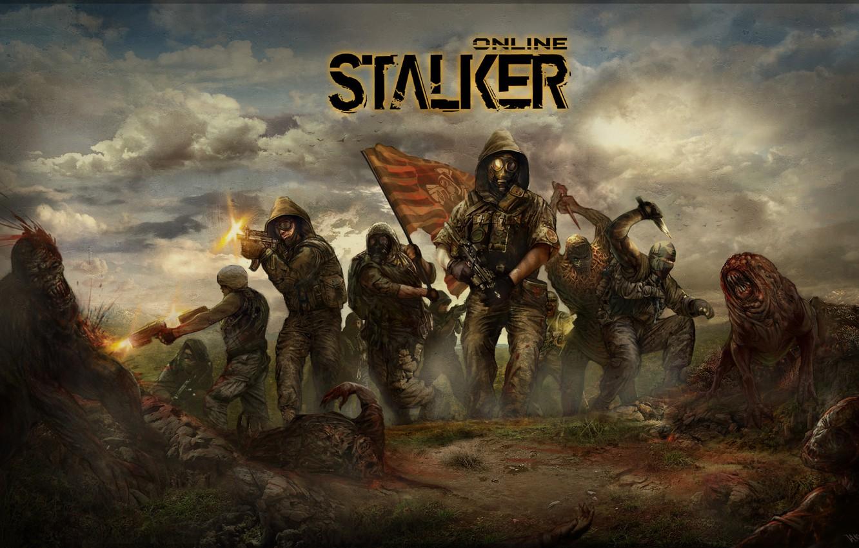 Photo wallpaper flag, monsters, soldiers, stalker, area, stalkers