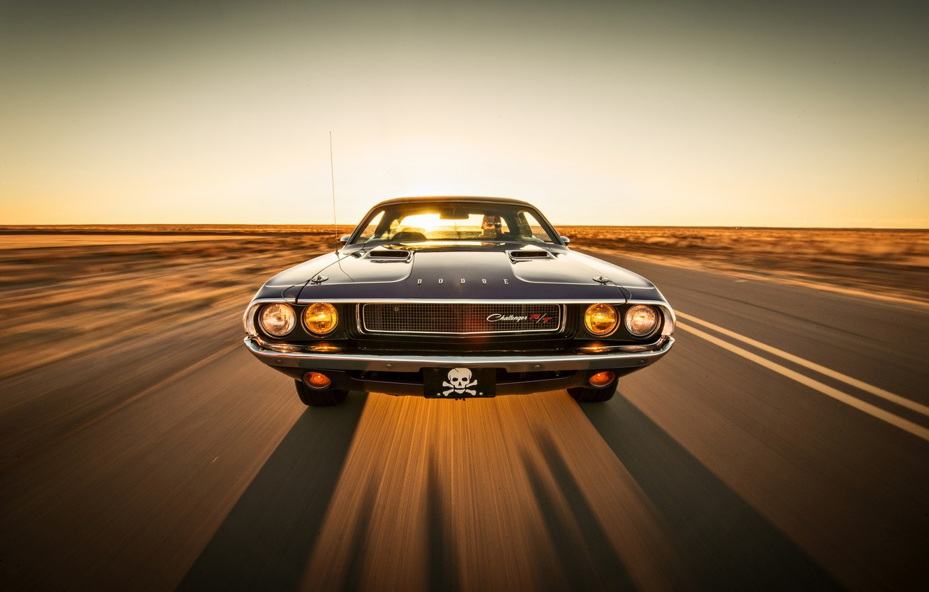 Photo wallpaper road, the sky, the sun, lights, shadow, the hood, horizon, driver, Dodge, Challenger, front