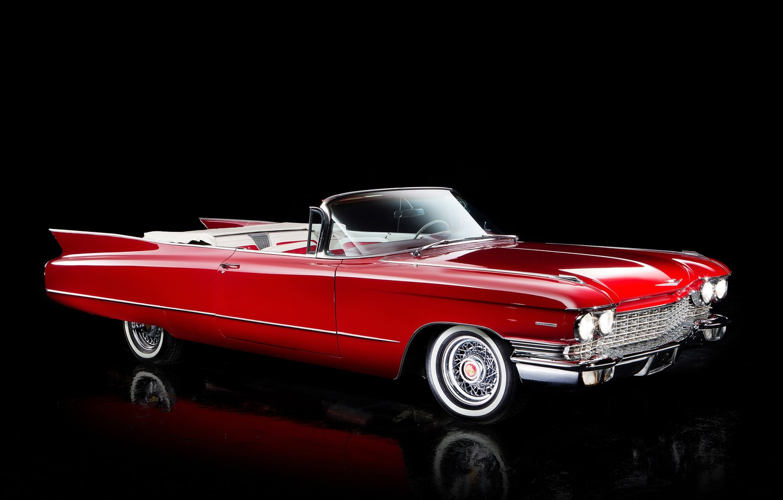 Photo wallpaper Cadillac, 1960, convertible, black background, Cadillac, Convertible, Sixty-Two