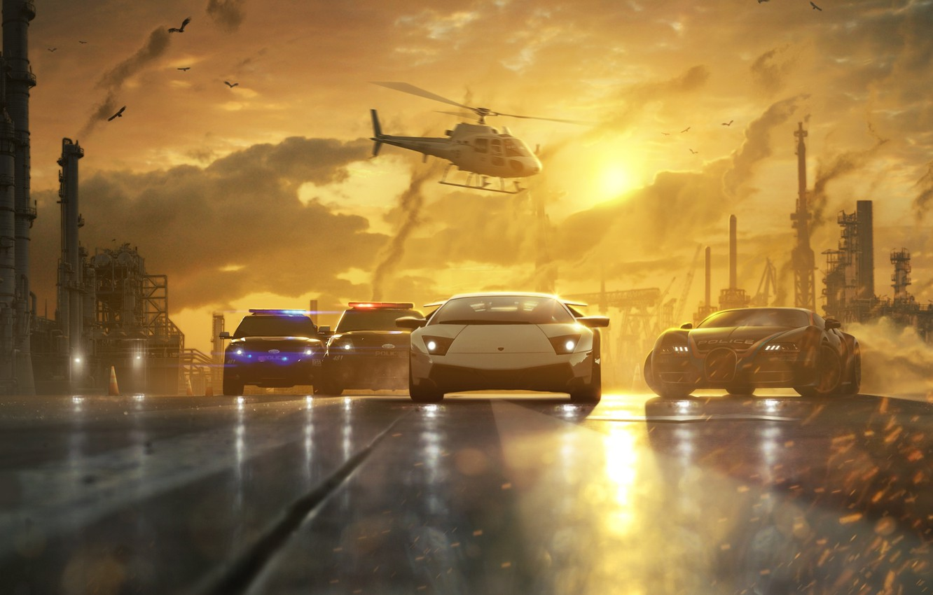 Photo wallpaper road, sunset, machine, pipe, race, smoke, police, chase, art, helicopter, Need for Speed, Most Wanted
