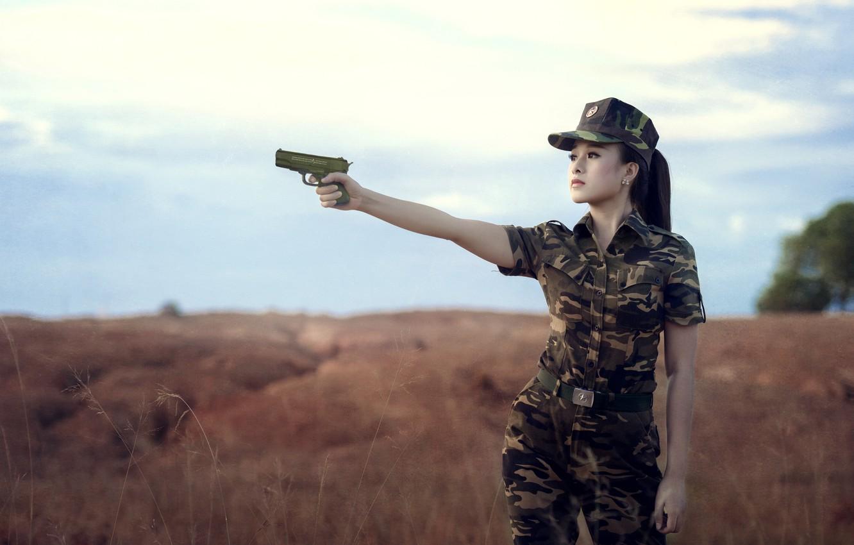 Photo wallpaper girl, gun, background, form, camouflage, Asian