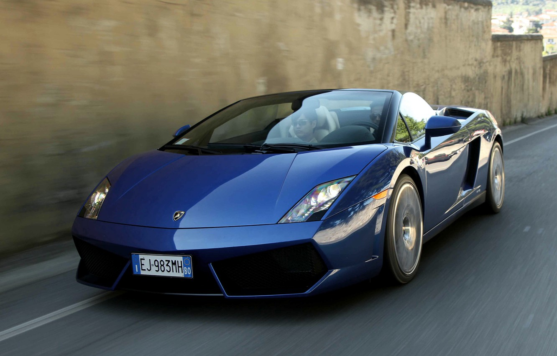 Photo wallpaper car, auto, Lamborghini, Gallardo, in motion, Spyder, speed, LP550-2