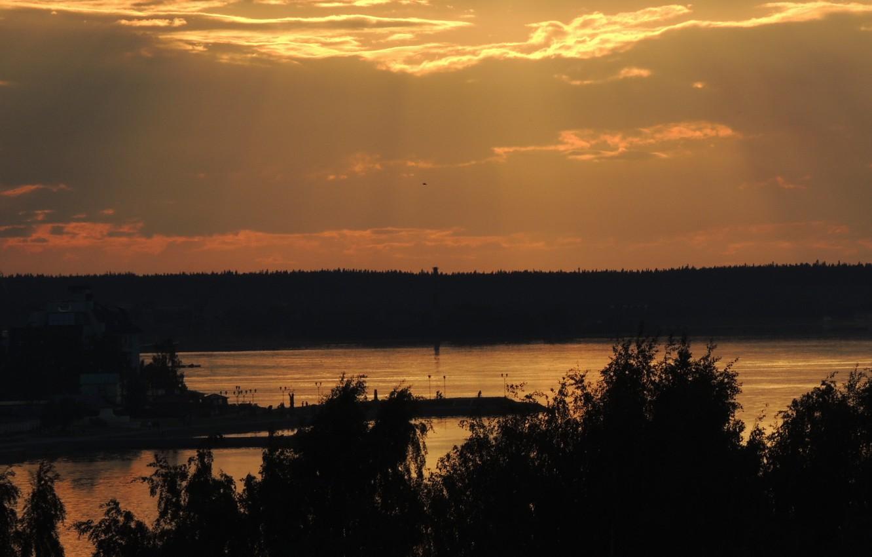 Photo wallpaper the city, lake, The evening, promenade, Petrozavodsk