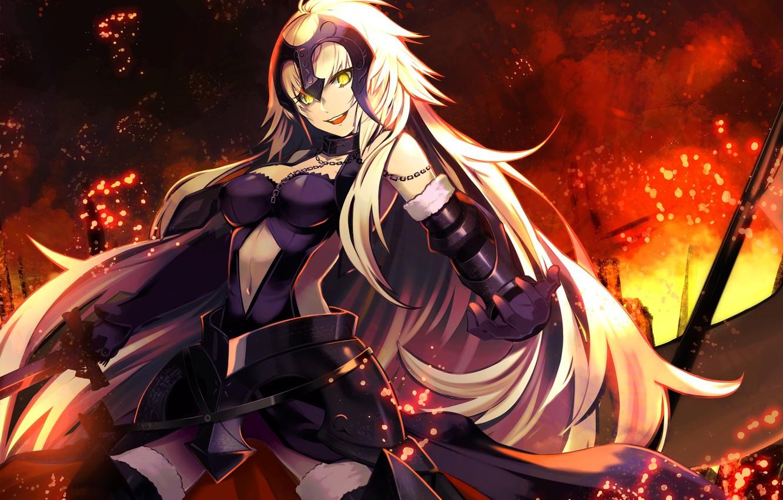 Photo wallpaper girl, weapons, fire, magic, sword, anime, art, chain, armor, fate/grand order, joan of arc, totsuka …