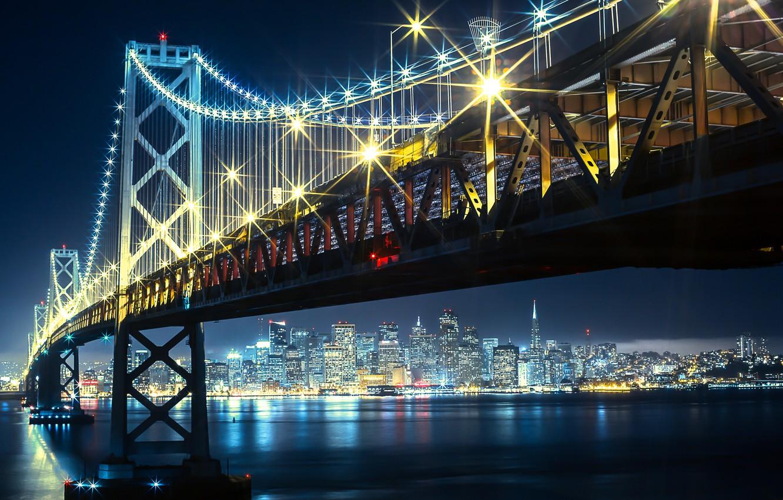 Photo wallpaper night, bridge, lights, Bay, Golden gate, USA, San francisco