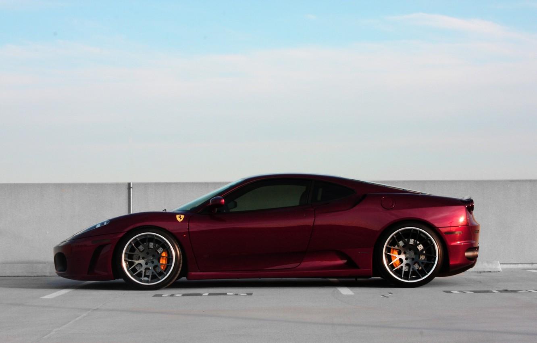 Photo wallpaper the sky, black, wall, profile, red, wheels, ferrari, Ferrari, drives, black, f430, dark red