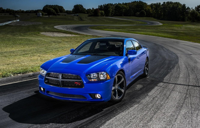 Photo wallpaper blue, Dodge, sedan, Dodge, Charger, trek, Sedan, R/T, Muscle Car, Daytona, V-8
