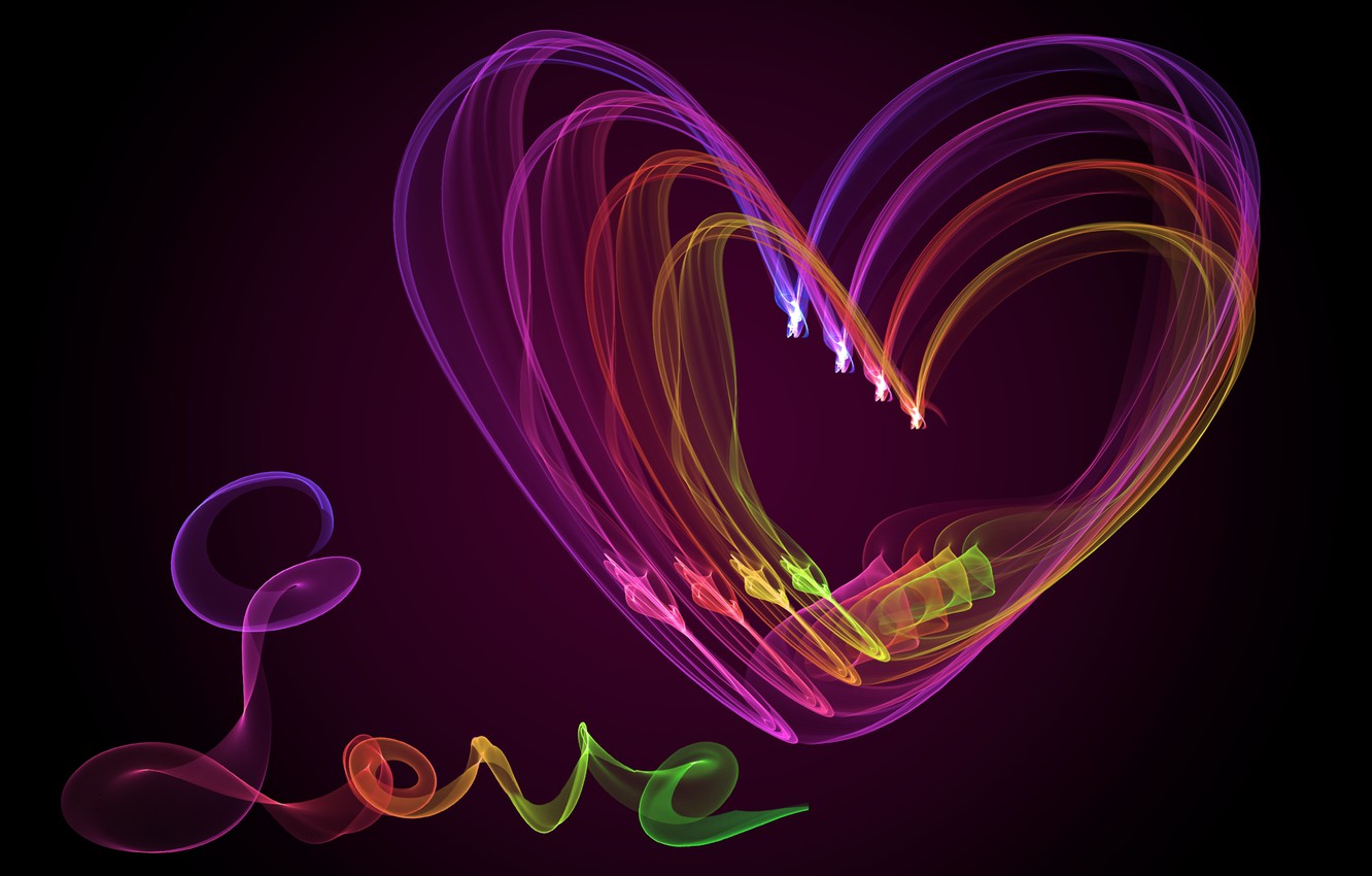 Photo wallpaper colors, abstract, love, heart, neon, fractal