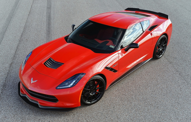 Photo wallpaper red, Chevrolet Corvette Stingray, tuning, Turbo, Hennessey