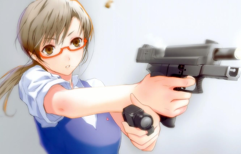 Photo wallpaper gun, weapons, glasses, Glock, aiming, Glock