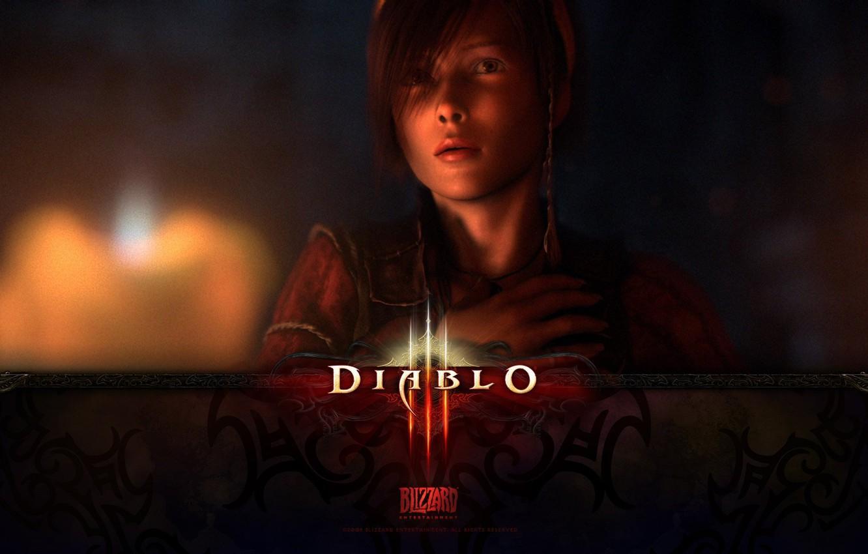 Photo wallpaper look, face, Girl, Diablo