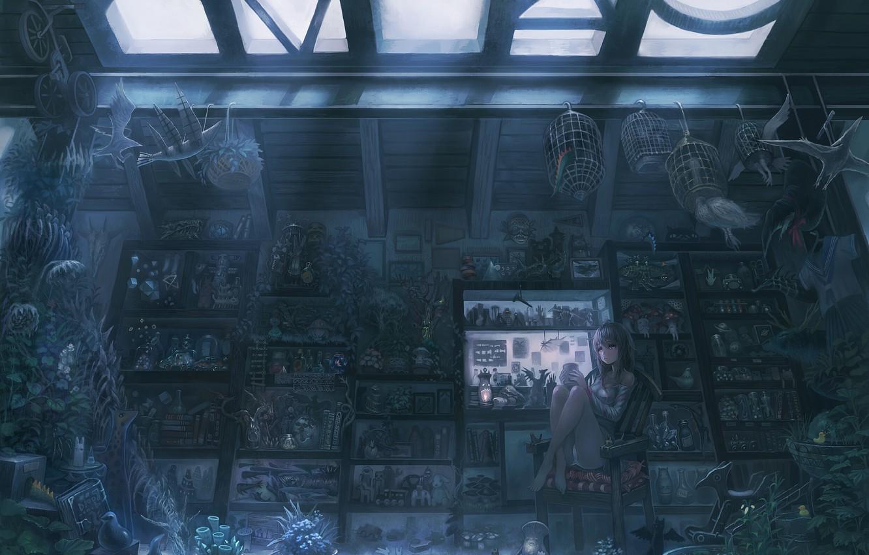 Photo wallpaper look, girl, flowers, room, toys, books, anime, mask, art, anime, art