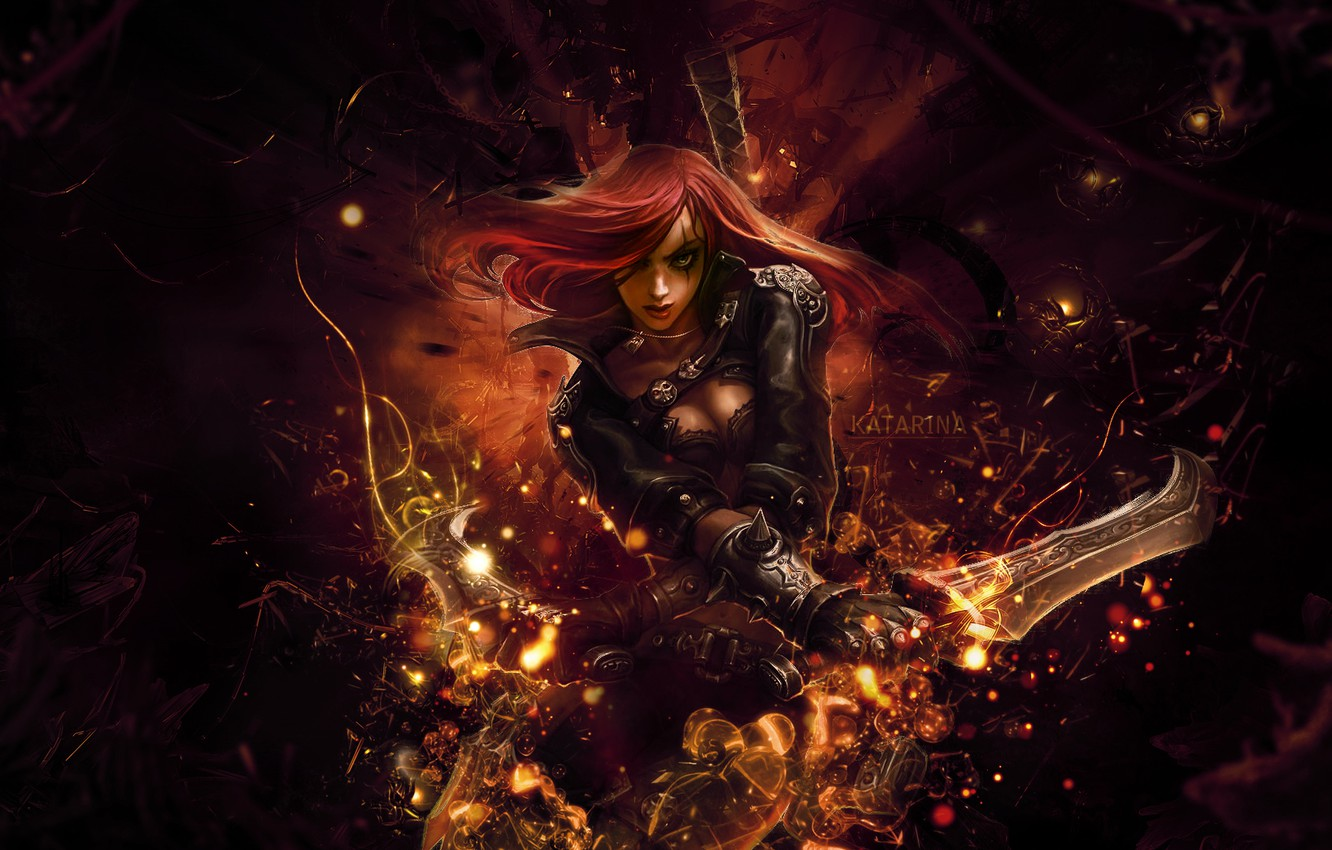 Photo wallpaper the game, anime, art, league of legends, katarina