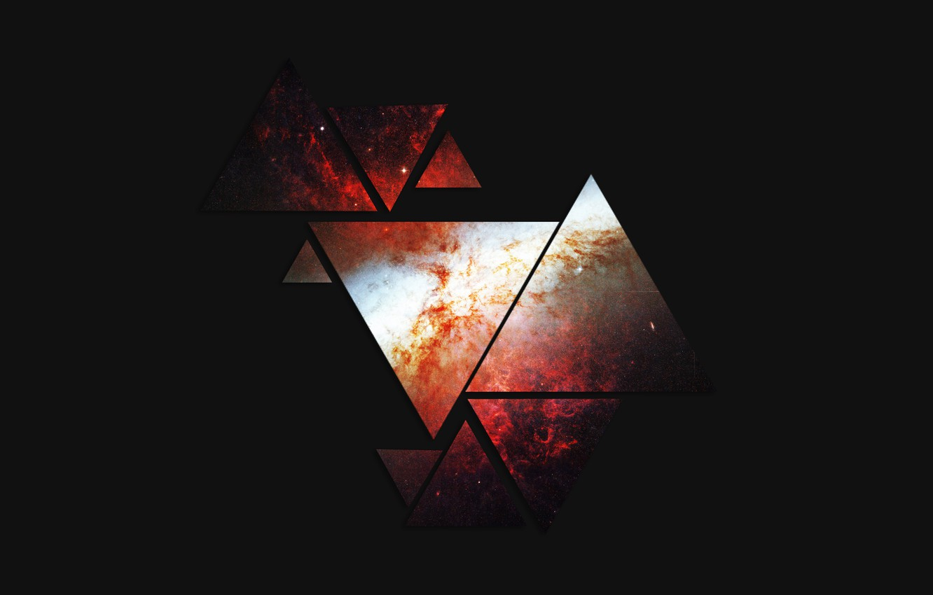 Photo wallpaper triangles, Space, figure, the dark background