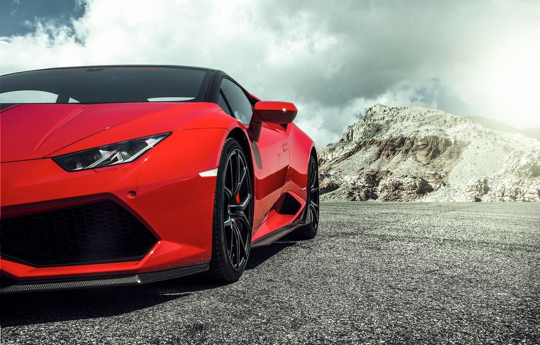 Photo wallpaper Lamborghini, Red, red, Lamborghini, 2015, Huracan, hurakan, LP 60-4