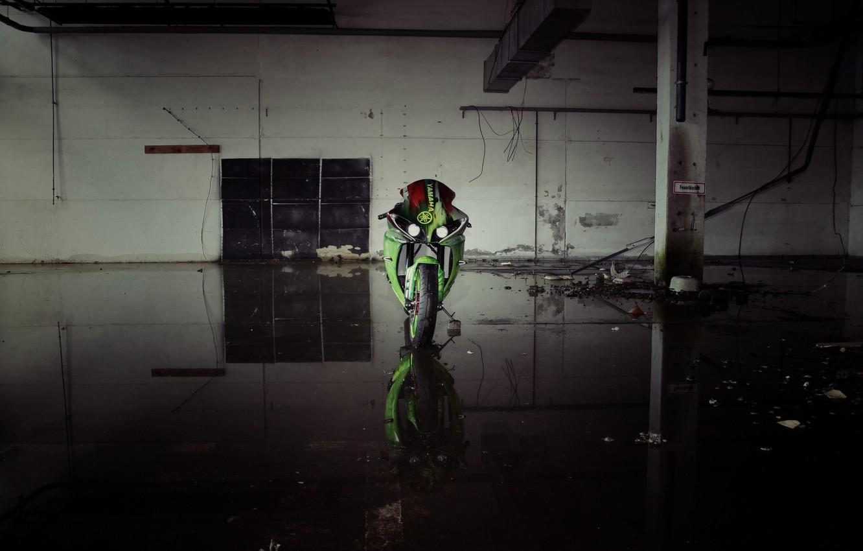 Photo wallpaper green, green, lights, motorcycle, yamaha, bike, the front, Yamaha, yzf-r1