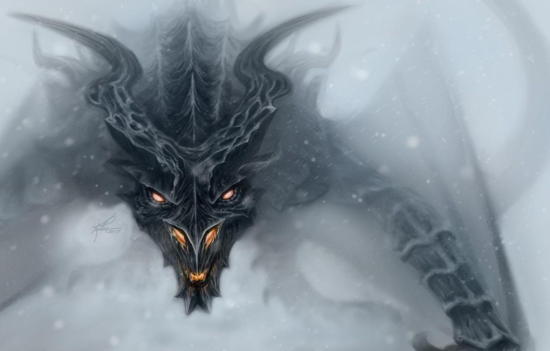 Photo wallpaper face, dragon, art, Skyrim, Alduin