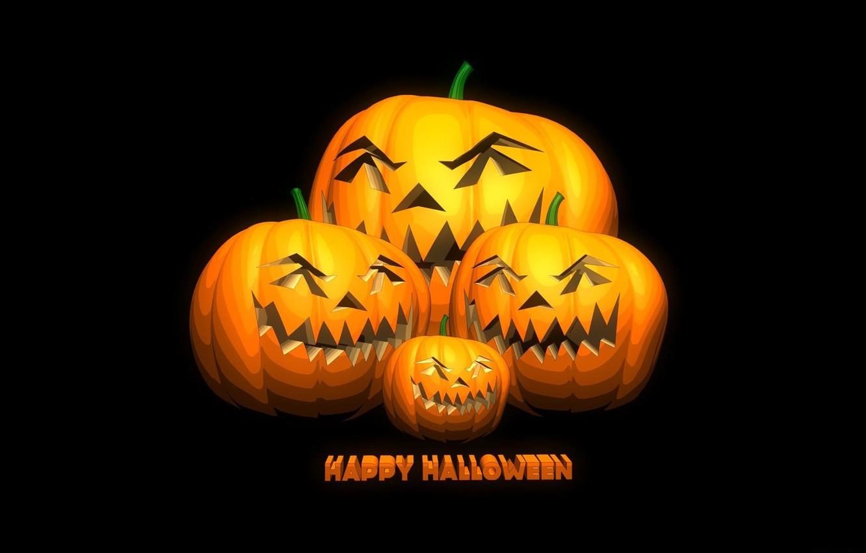 Photo wallpaper the inscription, pumpkin, halloween, black background, happy Halloween