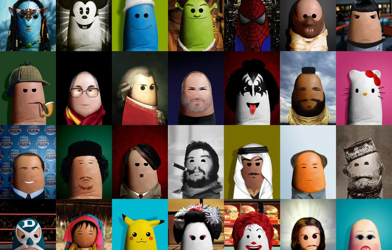 Photo wallpaper creative, Shrek, Jesus, doll, art, geisha, fingers, Avatar, Sherlock Holmes, McDonald's, Che Guevara, Sheikh, Steve …
