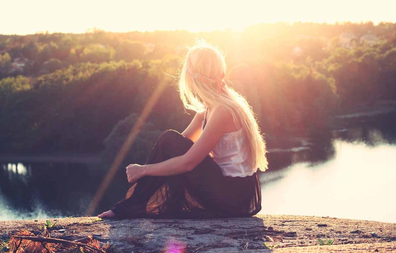 Photo wallpaper girl, the sun, blonde, sitting