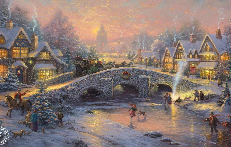 Photo wallpaper bridge, tree, horses, ice, coach, rink, beautiful, herringbone, elegant, village, sled, bridge, skates, village, holiday, …