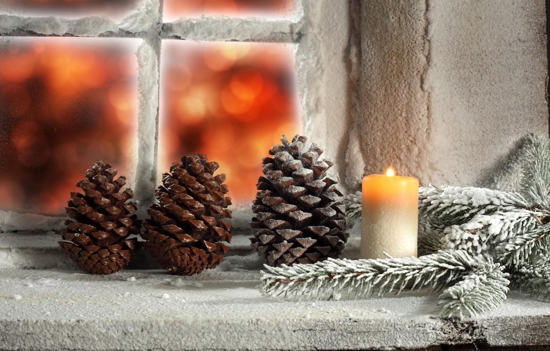 Wallpaper Winter Light Snow Candle Window Christmas
