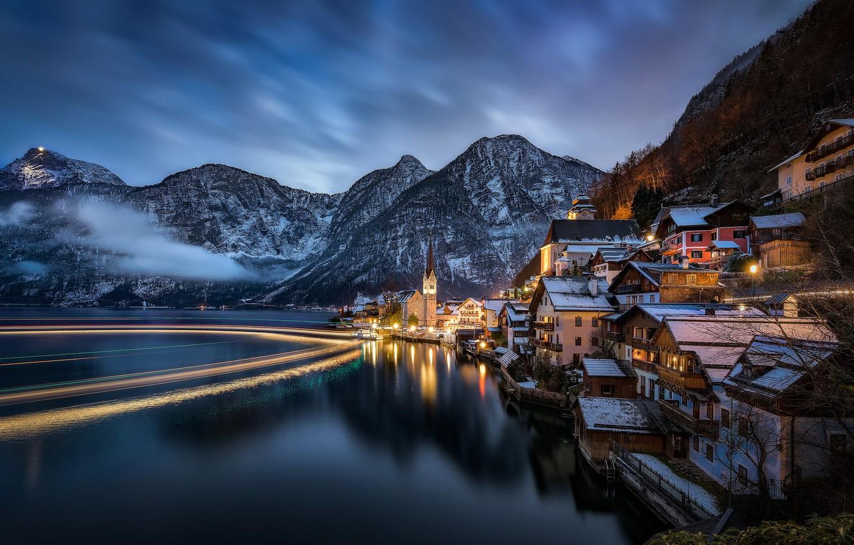 Photo wallpaper landscape, mountains, night, lake, home, Austria, Alps, Austria, Hallstatt, Alps, Lake Hallstatt, Hallstatt, Lake Hallstatt