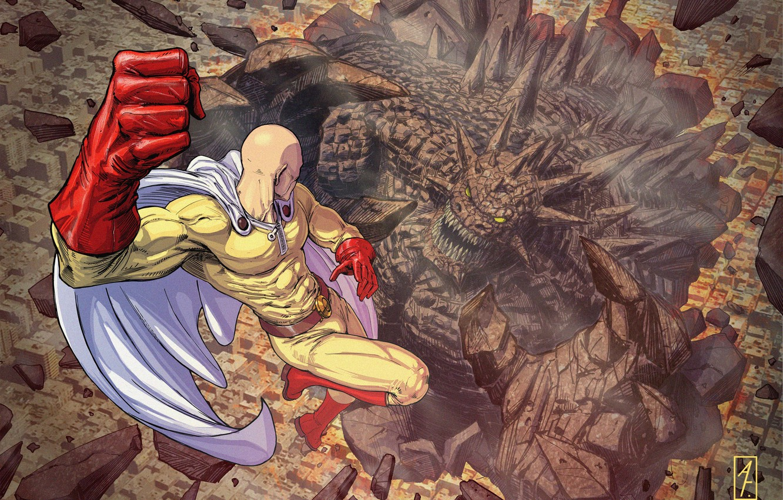 Photo wallpaper monster, hero, battle, anime, art, Saitama, One Punch Man