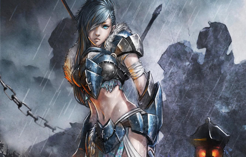 Photo wallpaper girl, drops, weapons, rain, cross, sword, fantasy, art, chain, lantern, armor, monkey