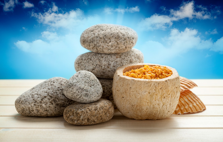 Photo wallpaper stones, sky, Spa, stones, spa, salt, bath salt