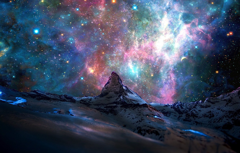 Photo wallpaper space, stars, landscape, mountains, Alps, space, mountains, stars, landscapes, nebula, nebulae, Matterhorn