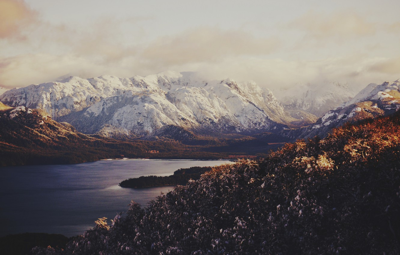 Photo wallpaper the sky, clouds, snow, mountains, lake, valley
