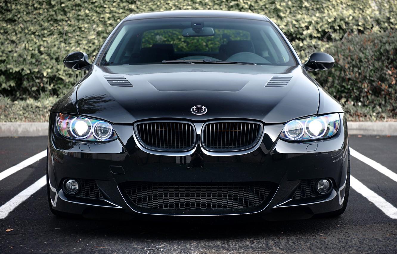 Photo wallpaper black, BMW, BMW, Parking, black, Coupe, 335i, E92