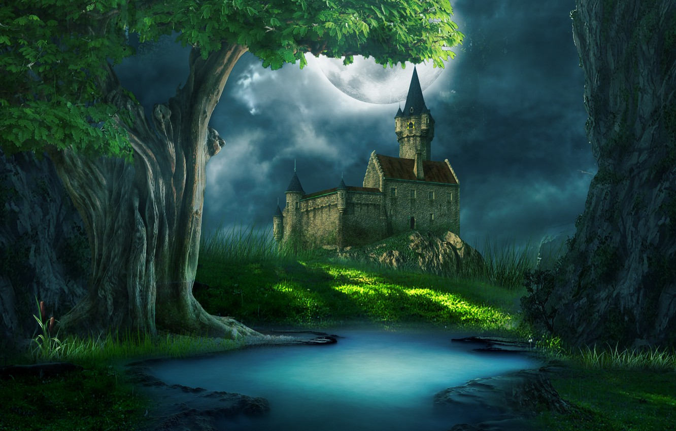 Photo wallpaper grass, clouds, glade, river, castle. the moon