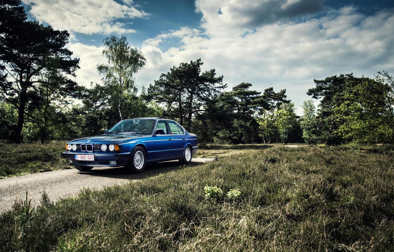 Photo wallpaper BMW, Classic, Blue, BMW, E34, 535i