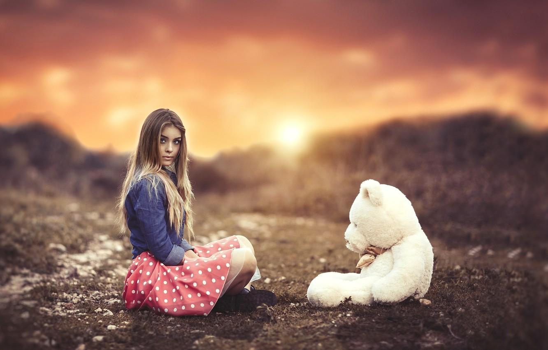 Photo wallpaper girl, sunset, mood, toy, bear, bokeh, Teddy bear