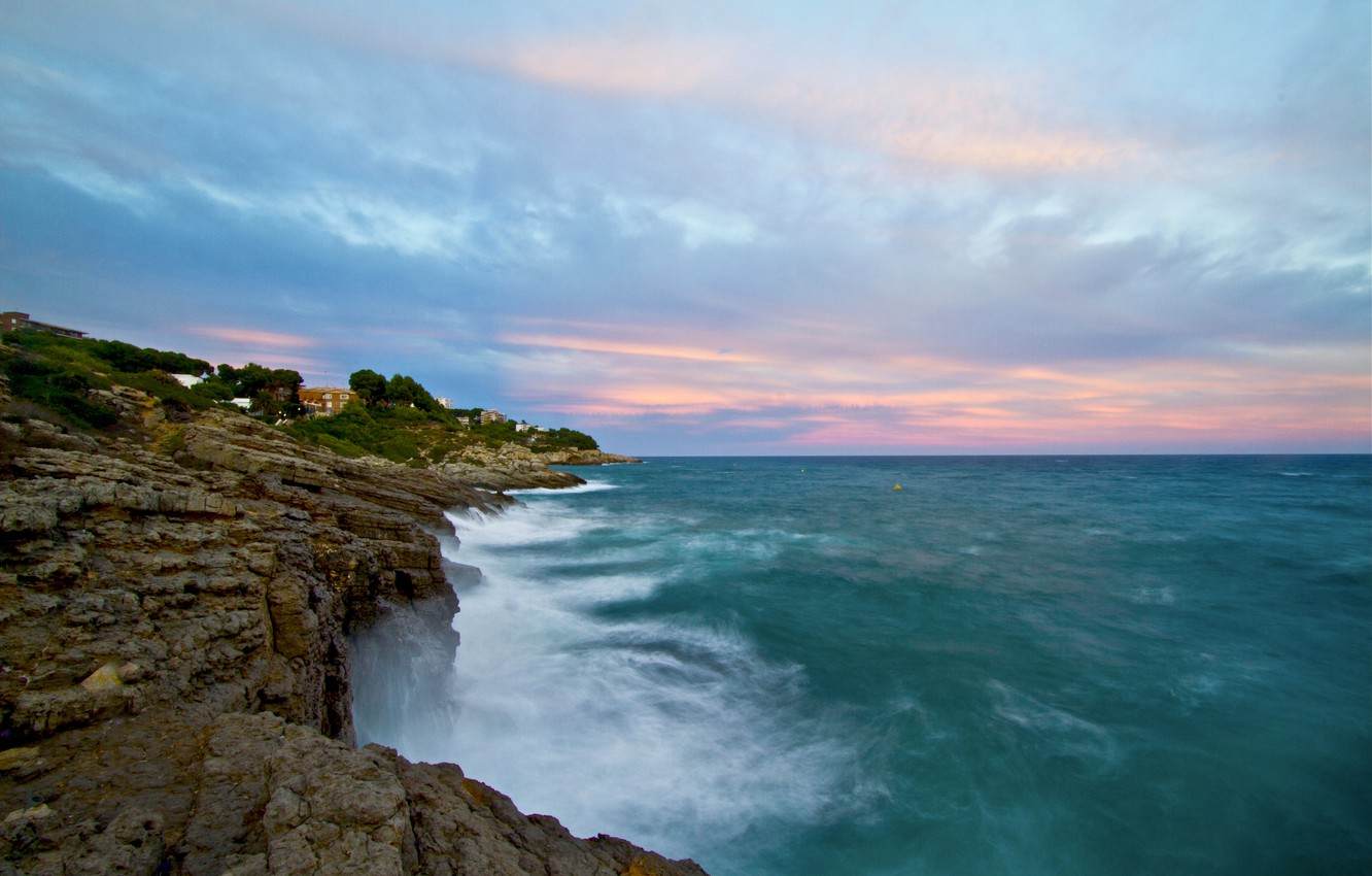 Photo wallpaper sea, wave, the sky, rocks, shore, blue - pink clouds