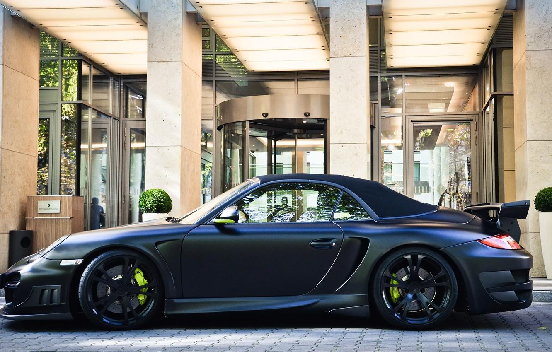 Photo wallpaper 911, 997, Porsche, black, matt, techart, building, cabriolet