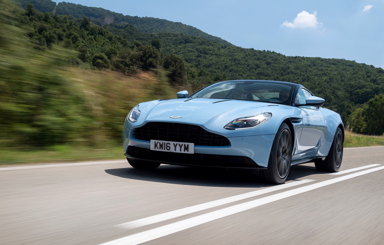 Photo wallpaper road, car, machine, Aston Martin, speed, supercar, road, speed, DB11